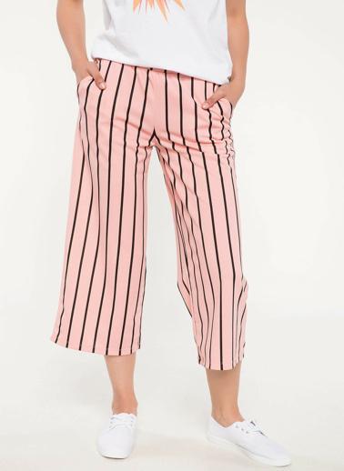 DeFacto Çizgili Elastik Bel Pantolon  Pembe